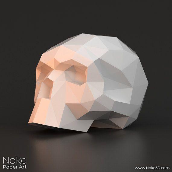 Human Skull 3D papercraft model. Downloadable DIY by NokaPaperArt