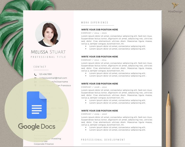 Google Docs Resume Template Instant Download Modern Resume