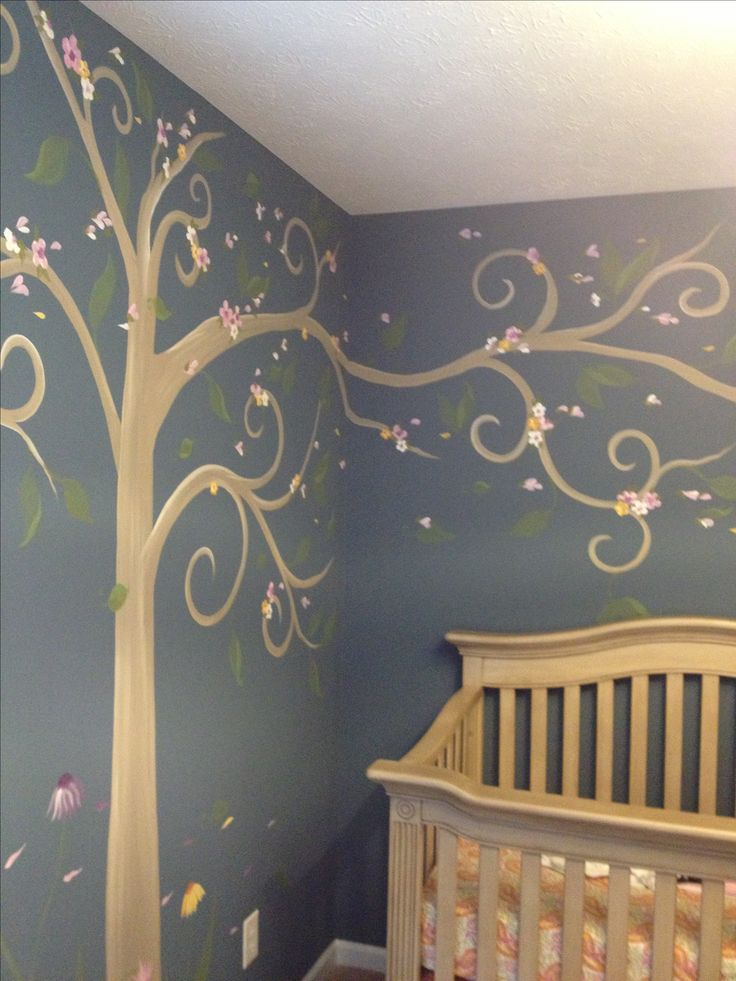 Nursery mural - tree - different colors!! Love this and could do for boys or girls with different accents!
