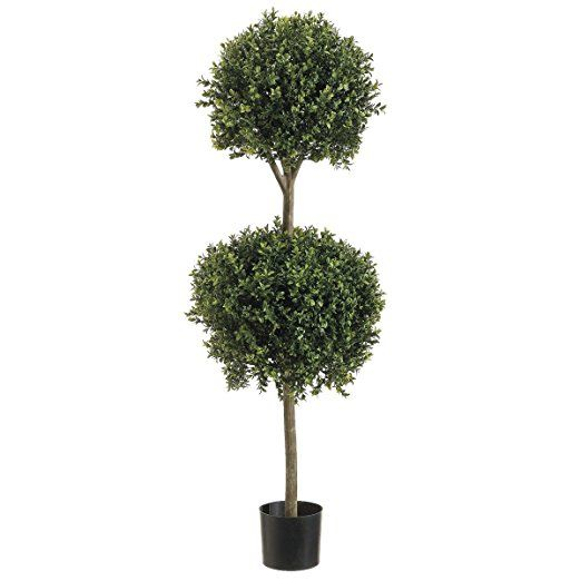4' Double Ball-shaped Boxwood Topiary in Plastic Pot Two Tone Green