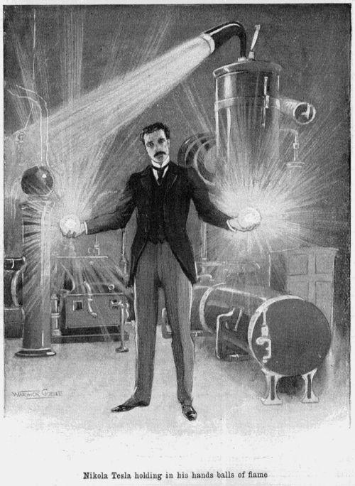 Nikola Tesla tient dans ses mains des boules de feu