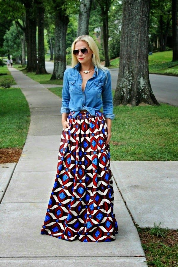 Chambray over maxi skirt/dress.