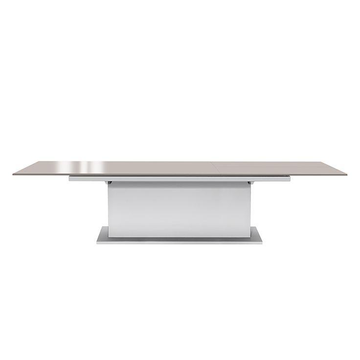 Säulentisch Deck (ausziehbar) - Weiß/Hochglanz Steingrau - 190 x 95 cm