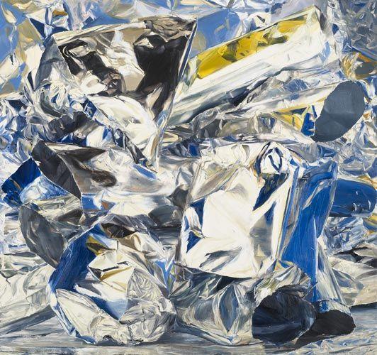 Paintings of crumpled aluminum foil by William Daniels at Luhring Augustine via Art Splash.