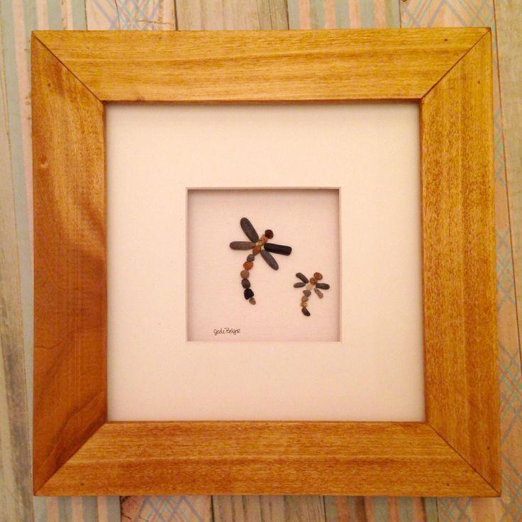8 x 8 Framed Dragonfly pebble art by Jodi Bolger #dragonflies #pebbleart #pebbleartbyjodi