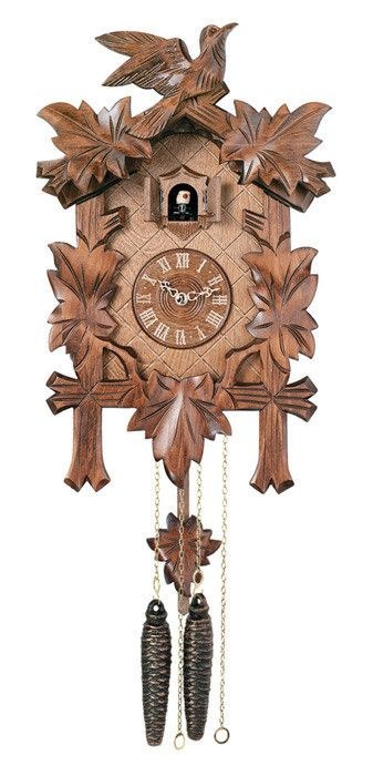 "Traditional German Cuckoo Clock with Five Hand-carved Maple Leaves and One Bird-14"" Tall"