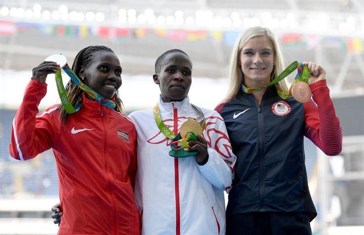 Medal - Jebet, Ruth, Jepkemoi, Hyvin Kiyeng, Coburn, Emma - Athletics - Bahrain, Kenya, United States - Women's 3000m Steeplechase - Women's 3000m Steeplechase Final - Olympic Stadium