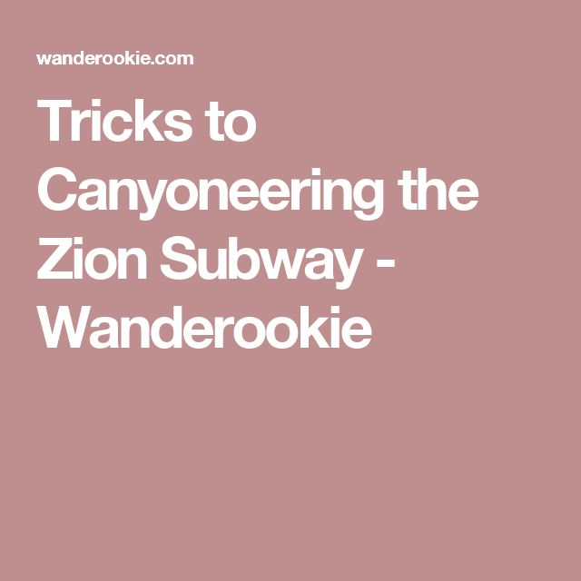 Tricks to Canyoneering the Zion Subway - Wanderookie