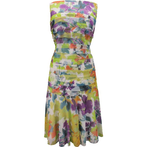 Maggy London London Times Curve Short Floral Dress (54 CAD) ❤ liked on Polyvore featuring plus size fashion, plus size clothing, plus size dresses, dresses, multi, plus size, layered dress, flower dress, pleated dress and plus size sleeveless dresses