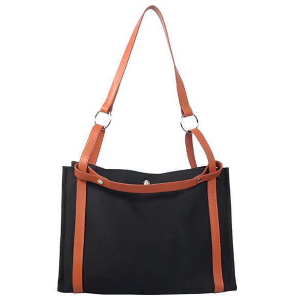 Hermes Escale Beach Bag Canvas&Leather H1658 Black&Orange
