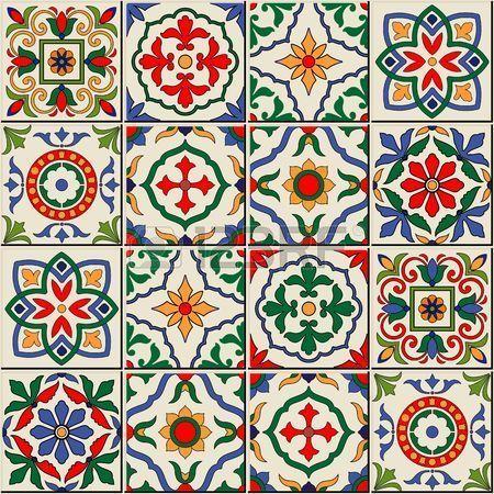 Gorgeous seamless  pattern  white colorful Moroccan, Portuguese  tiles, Azulejo…