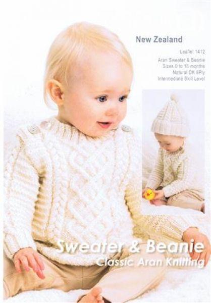 Crucci Sweeter & Beanie Classic Aran Knitting Leaflet 1412