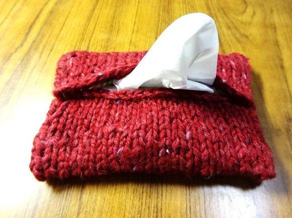 手編み 2WAY ポケットティッシュケース⇔使い捨てカイロ用カバー color:ボルドー
