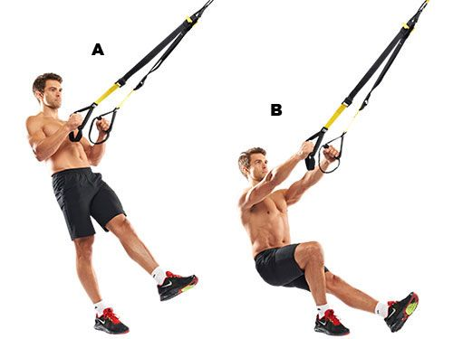 One-leg squatHold the handles and lean backwards, raising your left leg (A). Squat on your right leg, tensing your core to prevent any wobbling (B). Fire back up. This hammers your glutes and quads, burning hundreds of calories.