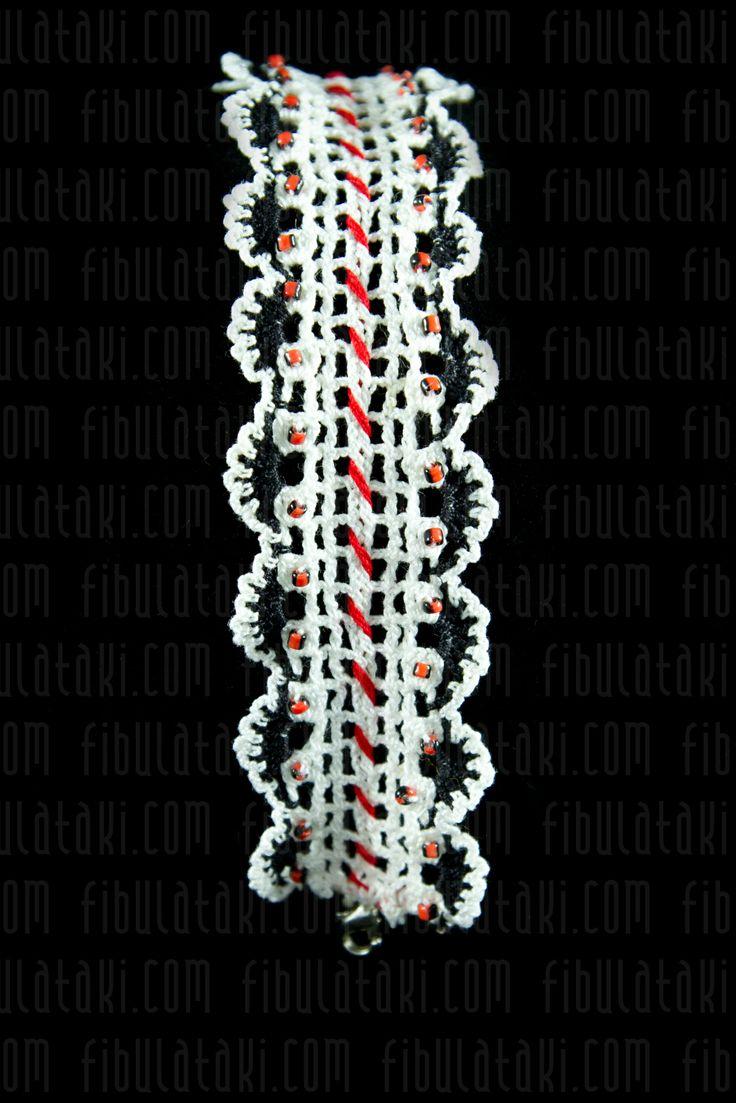 Fibula Takı - Çeyiz Sandığı Serisi / Bileklik - örgü - dantel - beyaz, siyah, kırmızı