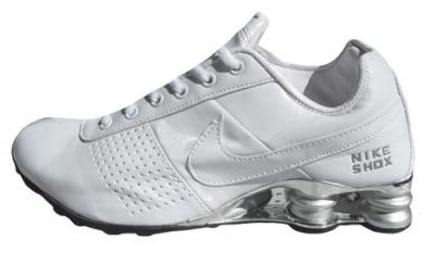 nike shox branco e prata feminino