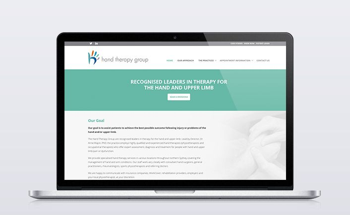 Bringing a new level of professionalism to their public face, the Hand Therapy Group web design is strong, approachable and highly functional with a focus on user experience http://ifyoubuildit.com.au/2014/11/hand-therapy-web-design-and-development/ #handtherapy #webdesign #webdevelopment #medicalwebsite #physiotherapywebsite #iybi