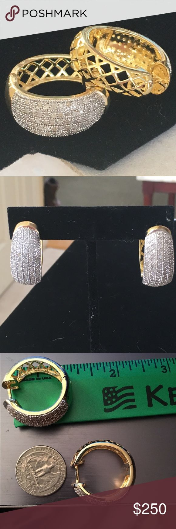 GENUINE DIAMOND 1 CTTW Diamond hoop earrings These are stunning 1 carat diamond earrings. The  setting is 14K gold plating over brass, which makes this an affordable value. There are 108 diamonds. Jewelry Earrings