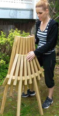 Easy to make 3-2x4's is all the wood needed. Folds up for storage. Very cormfortable too! Kentucky stick chair.