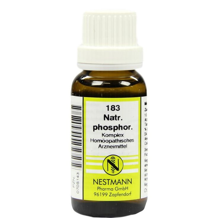 NATRIUM PHOSPHORICUM KOMPLEX Nr.183 Dilution:   Packungsinhalt: 20 ml Dilution PZN: 00705143 Hersteller: NESTMANN Pharma GmbH Preis: 3,84…
