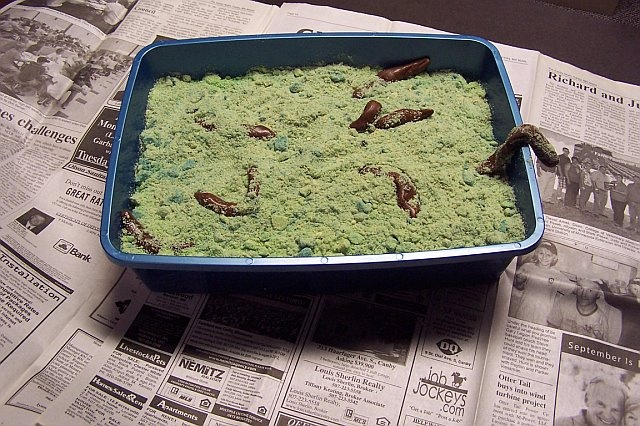 Kitty Litter Cake.Need a NEW kitty litter pan and NEWlitter scoop.   I made a graham cracker crust, then layered a mixture of cream cheese, pistachio pudding and cool whip and put that over the top.  Then made a couple of batches of instant pistachio pudding and layered that over the top.  I then crushed vanilla sandwich cookies and added in some green and blue food coloring to it and sprinkled it over the top.  Tootsie rolls microwaved a bit and rolled into, well you know, turds go on top.