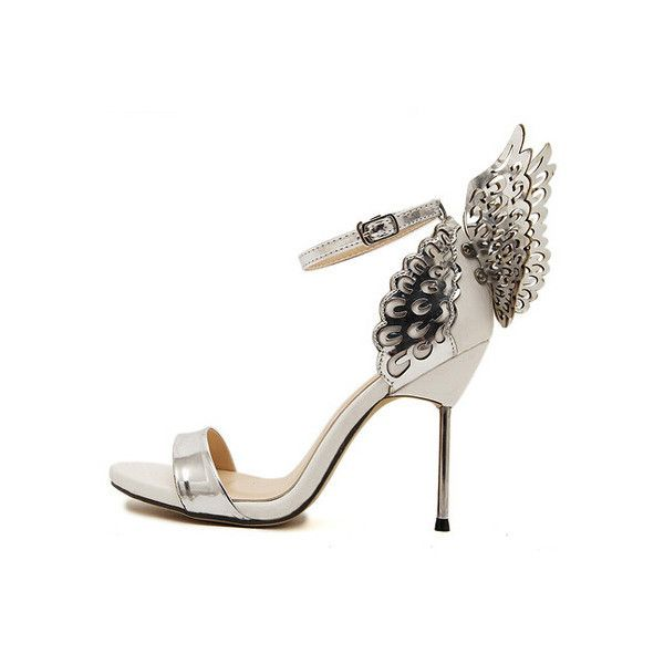 Silver High Heel Butterfly Sandals (£28) ❤ liked on Polyvore featuring shoes, sandals, butterfly shoes, silver high heel sandals, silver sandals, high heeled footwear and silver shoes