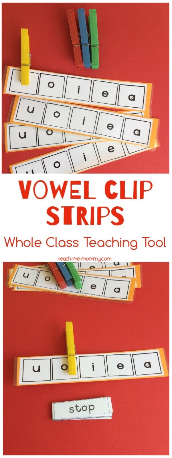 Vowel Clip Strips  A simple teaching tool to use for whole class teaching: vowel clip strips!
