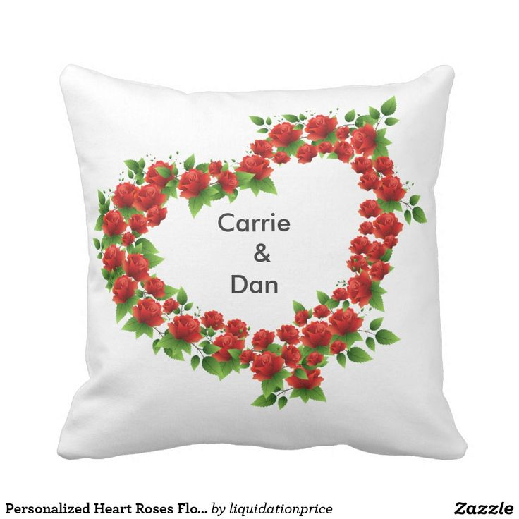 #Personalized #Heart #Roses #Flower #Bouquet #Pillow #weddinggift #gift #wedding #couples #couple #anniversary #love #custom