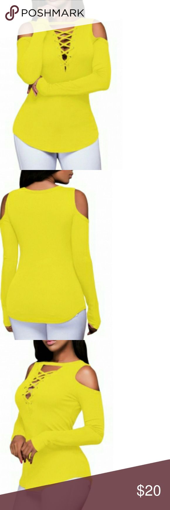 Long sleeve top Yellow long sleeve cut-out shoulder ribbed top Tops Tees - Long Sleeve