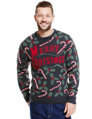 Who wouldn't want this Christmas Candy Crew Neck Jumper for only £17.50 at Marks & Spencer #UglySweater #Swagbucks