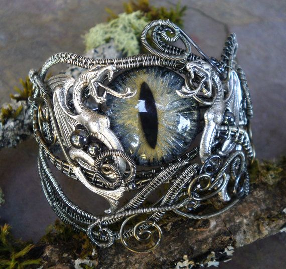 SOLD Gothic Steampunk Mink Dragon Bracelet by twistedsisterarts, $174.95