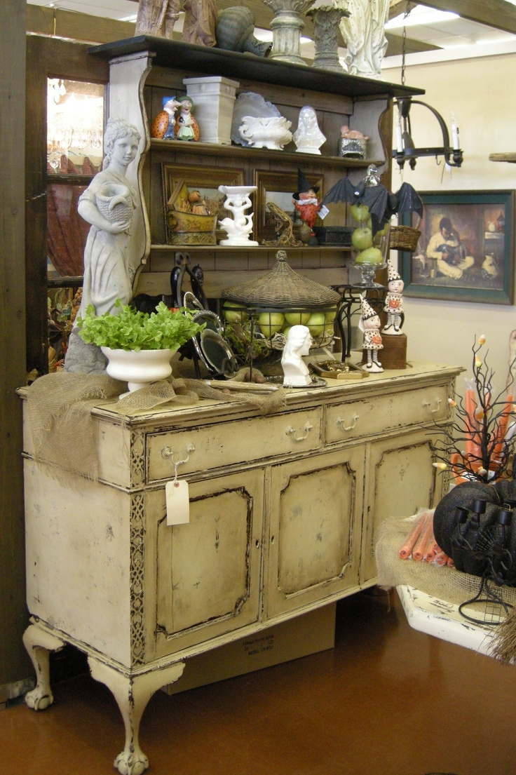 Ball and claw food buffet in heavily distressed finish.  Theodaura's located at The Feathered Nest Market in OKC