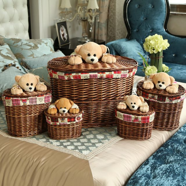 Декоративные плетеные корзины с медведь Крышки Белый и Коричневый ротанга корзины Маленькие или большие плетеные корзины для белья ящики для хранения