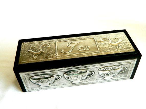 Tea caddy box pewter embossed cup scroll design matt by Loutul, £35.00 #EtsyCIJ and #DolanGeiman