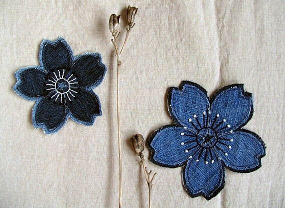 Denim Patch Under 20 Gift Upcycled Hippie Flower Patch Hand