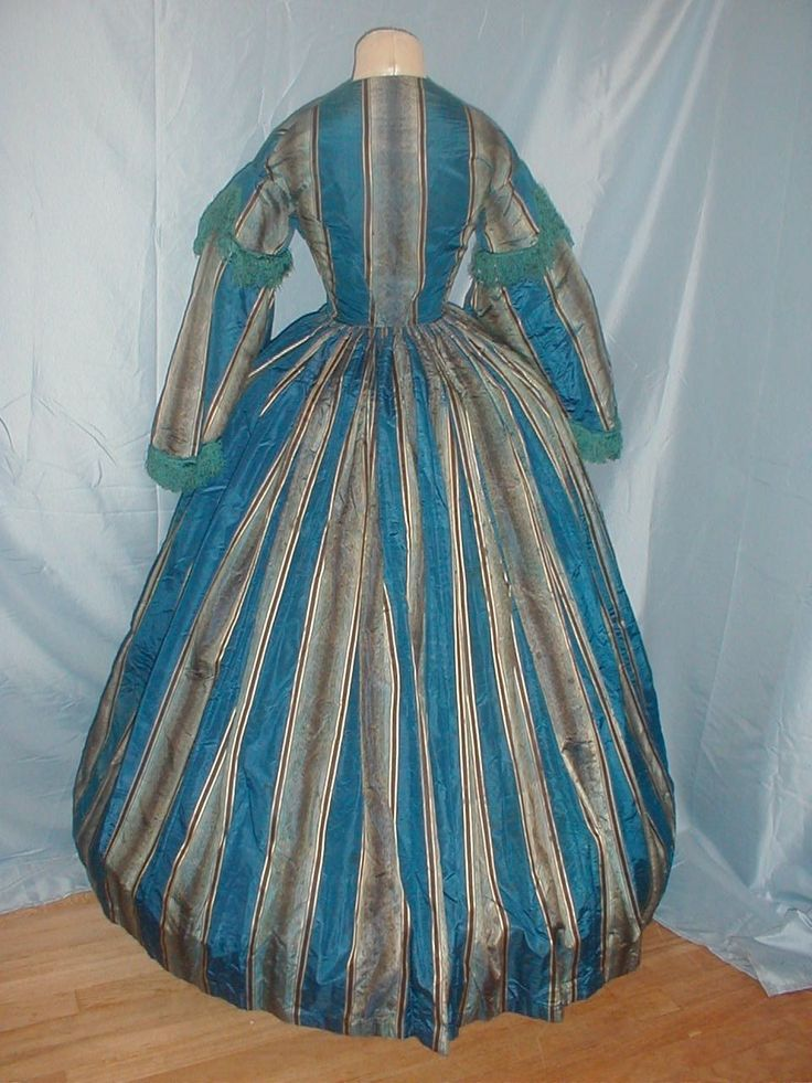 Antique 1860 Dress Royal Blue Stripe Silk Provenance | eBay