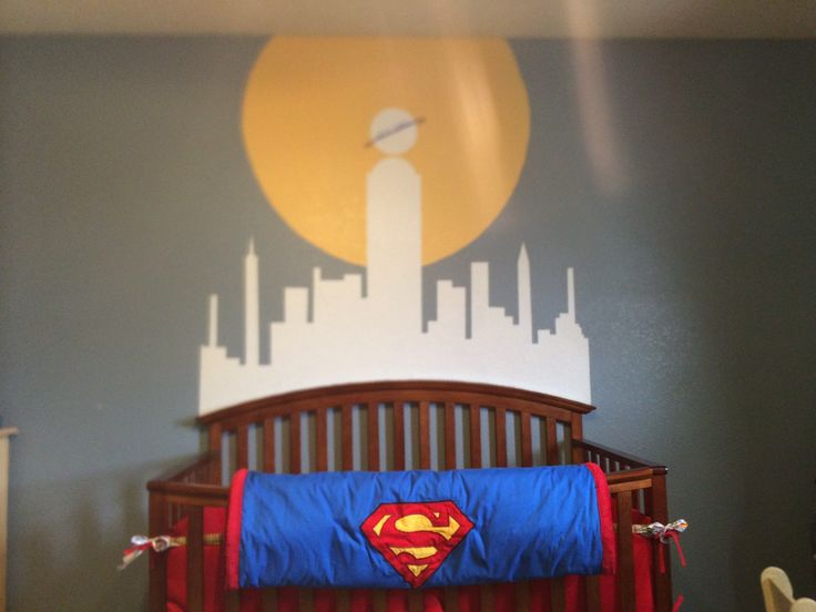 Metropolis mural for Superman nursery!