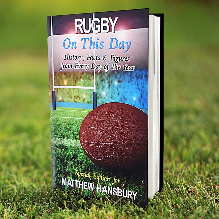 Personalise this Rugby On This Day Book with a name using up to 25 characters on the front. Inside the cover add a message of up to 4 lines of 20 characters, please include spaces as characters.