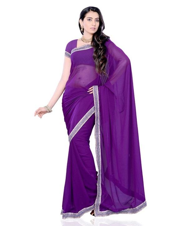 50% Off on Divaa Trendy Violet Designer Saree @649