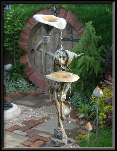 Bronze Sculpture/Fountain called 'Goblin with Mushrooms', by David Goode  ... Love it!