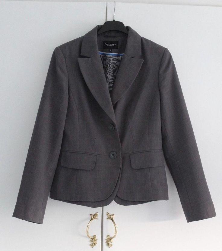 Size 12 EU 40 DEBENHAMS COLLECTIO Grey Jacket Tailored Very Good Condiiton (181) #Debenhams #SuitJacket