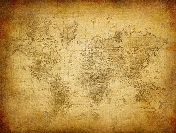 World Map Wall Mural, Old Map Of The World, Repositionable