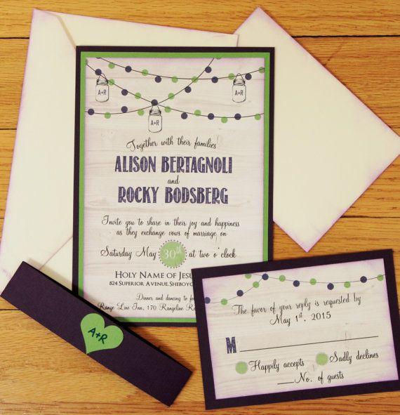 Dark Purple Wedding Invitations: Handmade Wedding Invitation, Rustic, Dark Purple And Green