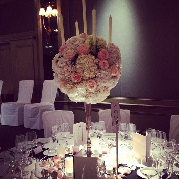 Silver Candelabra with Cream hydrangea, sweet avalanche roses