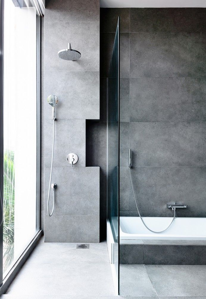 Grey concrete effect tiles, very industrial and stylish. Similar products can be found at Mandarin Stone www.mandarinstone.com