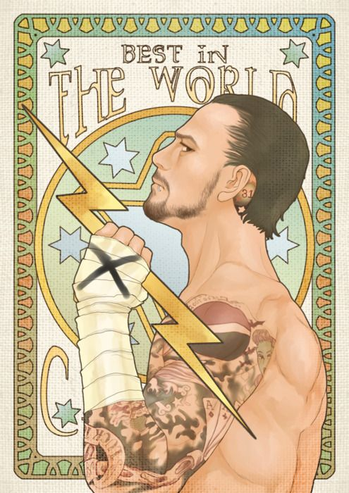 Uncredited Art Nouveau CM Punk poster. I've tried everything to credit the creator--if you find her/him, let me know.