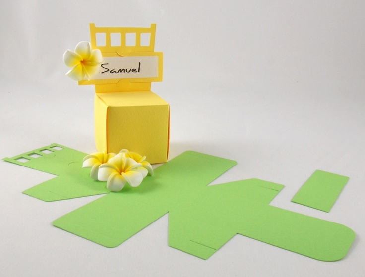 Chair with Place Card Box in flat Textured Yellow Card from www.whatnext.com.au We cut these boxes in house and can cut them in any colour.