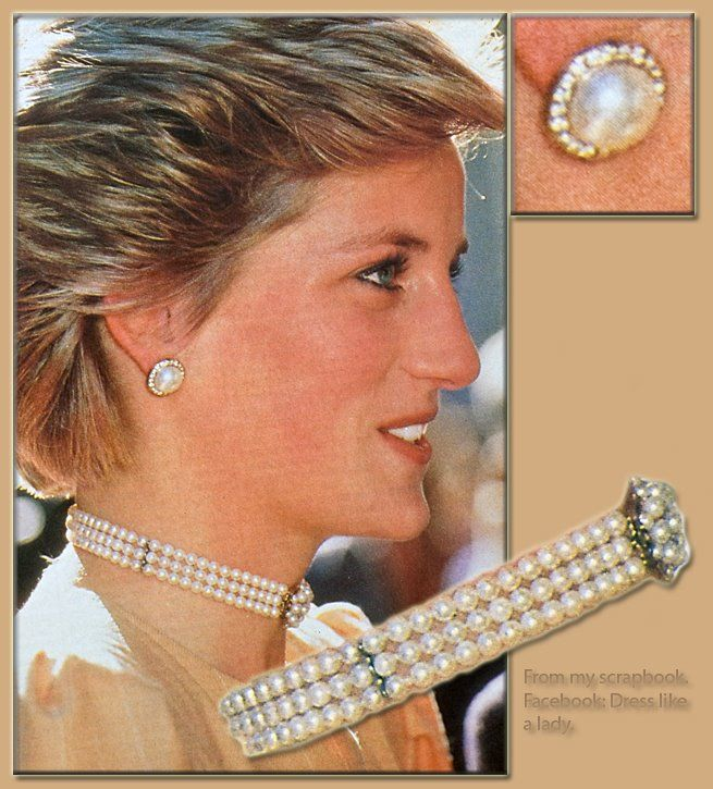 Princess Diana and her 3 strand pearl choker which was an 18th birthday present from her Father.