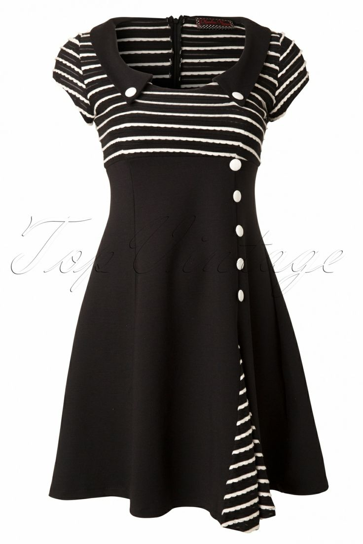Vixen - 60s Oh So Striped A line dress in Black and White. This is absolutely adorable!
