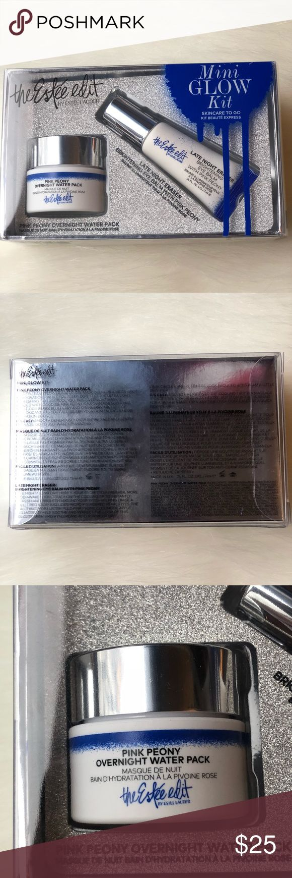Estée Lauder The Estee Edit Mini Glow Kit ***BRAND NEW***  Estée Lauder The Estee Edit Mini Glow Kit  1 - Pink Peony Overnight Water Pack - 0.5 oz 1 - Late Night Eraser Brightening Eye Balm with Pink Peony - 0.24 oz  *Dermatologist-tested, non-acnegenic. *New in Silver Shiny Gift Box  ~Authentic ~ Please do not ask lowest or submit an offer in the comment ~ I accept offer through offer button only  ~ Please be respectful when submit an offer ~ No modeling, no trades, & no hold Estee Lauder…